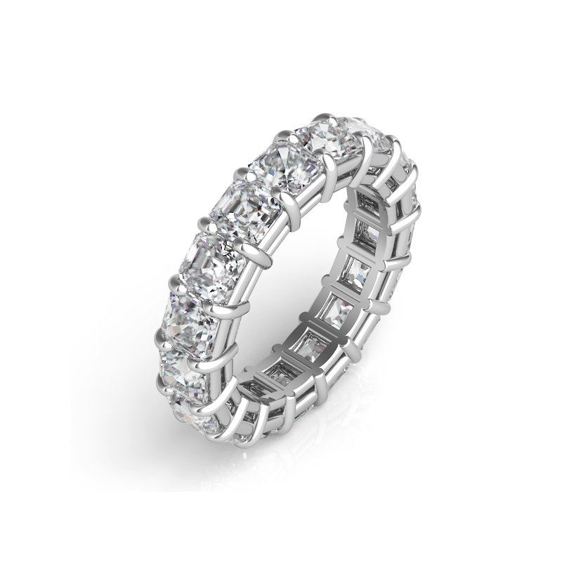 S. Kashi & Sons Bridal White Gold Asscher Cut Eternity Band