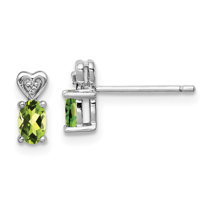 Lester Martin Online Collection Sterling Silver Rhodium-plated Peridot & Diam. Earrings