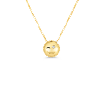 18Kt Gold Wink Emoji Pendant With Diamonds