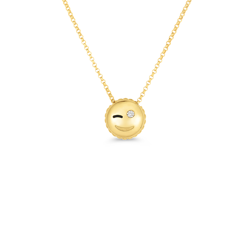 Roberto Coin 18KT GOLD WINK EMOJI PENDANT WITH DIAMONDS