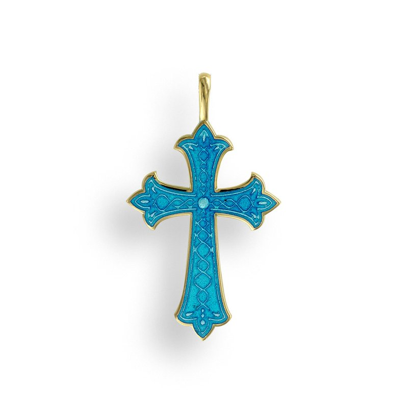 Nicole Barr Designs Blue Cross Pendant.18K