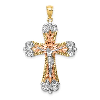 14K Tri-Color w/Rhodium Crucifix Pendant
