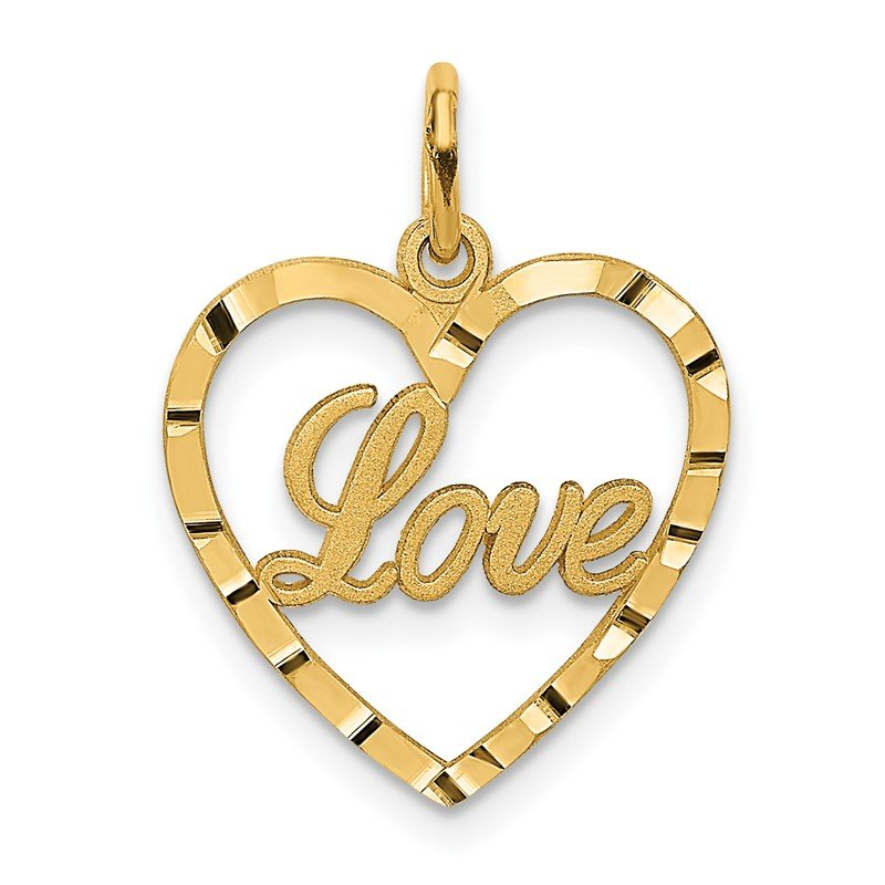 Quality Gold 14k LOVE Diamond-cut Heart Pendant