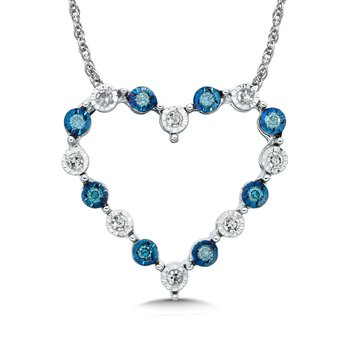 Blue and White Floating Diamond 14k Heart Pendant (3/8ct. tw.)