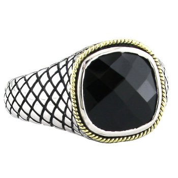 18kt and Sterling Silver Cushion Doublet Onyx Ring