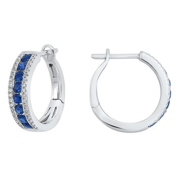 3 Row Channel Set Sapphire Earrings in 14K White Gold (1/5 ct. tw.)