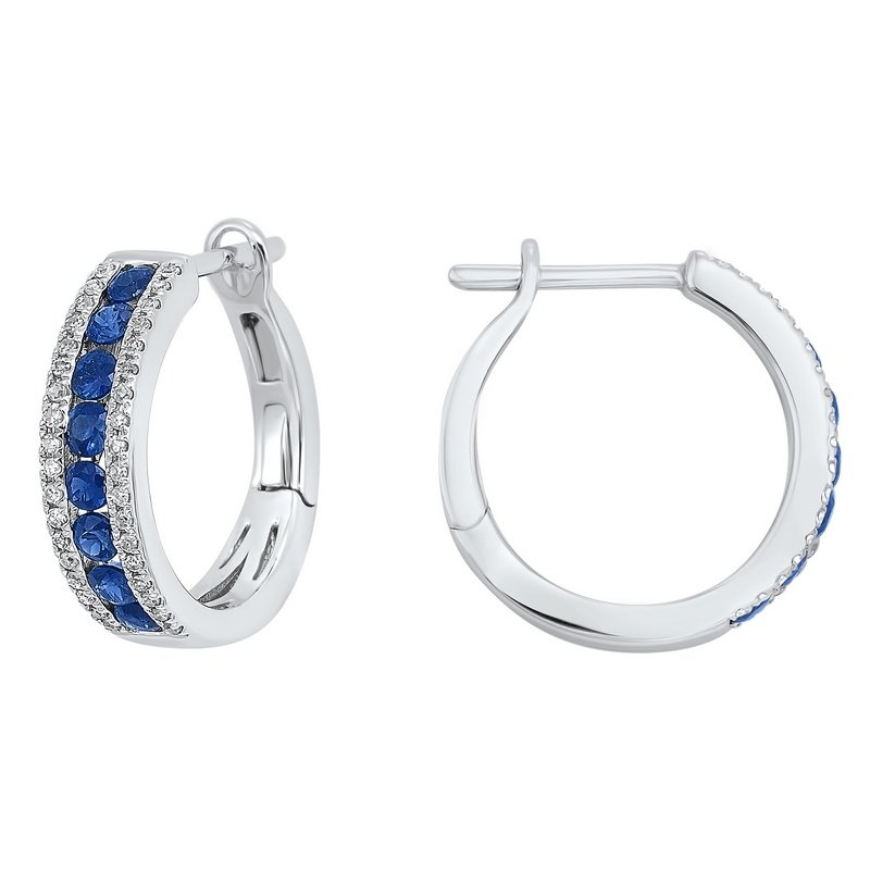 Gems One 3 Row Channel Set Sapphire Earrings in 14K White Gold (1/5 ct. tw.)