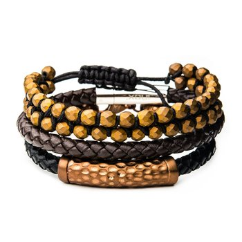 Cappuccino Leather and Brown Hematite Bead Stackable Bracelets