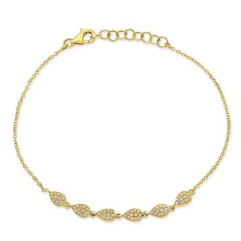 Yellow Gold Dainty Pave Pear Shape Bracelet