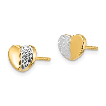 14K & Rhodium Diamond-Cut Heart Post Earrings