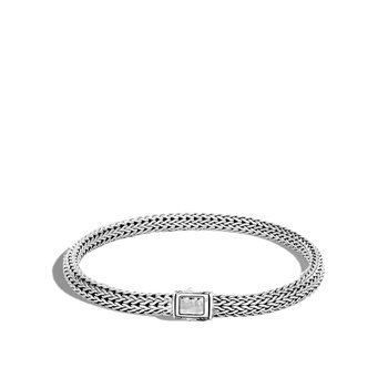 Classic Chain 5MM Hammered Clasp Bracelet in Silver