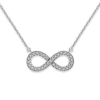 Diamond Large Infinity Necklace in 14k White Gold with 31 Diamonds weighing .41ct tw.