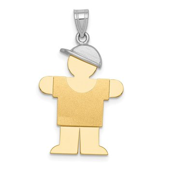 14k Two-Tone Large Boy with Hat on Right Engravable Charm