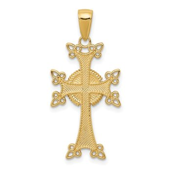 14K Polished/Textured Armenian Cross Pendant