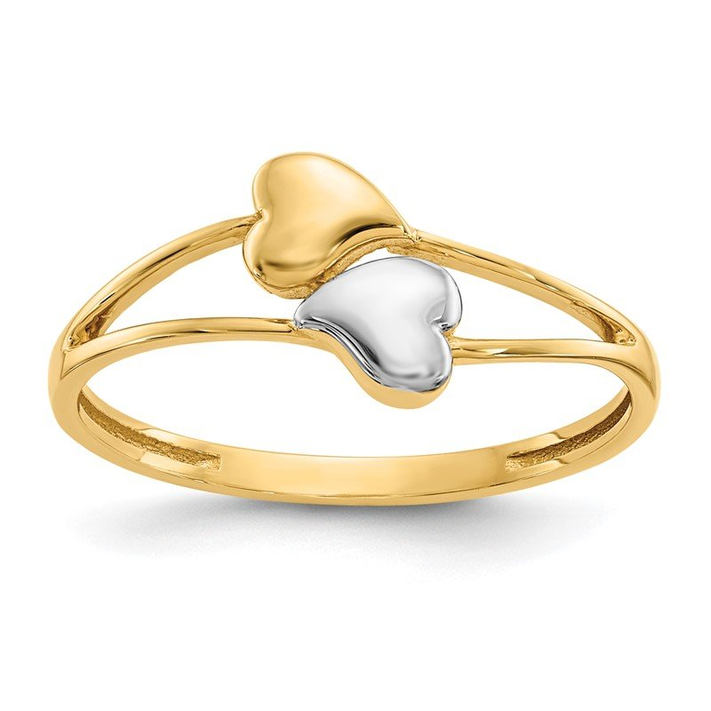 Quality Gold 14k with Rhodium Double Heart Ring