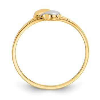 14k with Rhodium Double Heart Ring