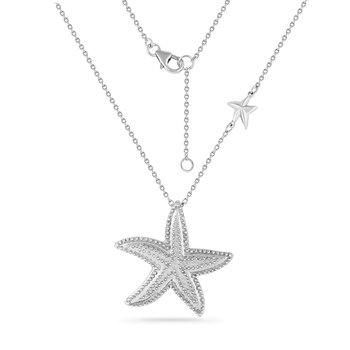 sterling silver starfish necklace with pin point detail 18""