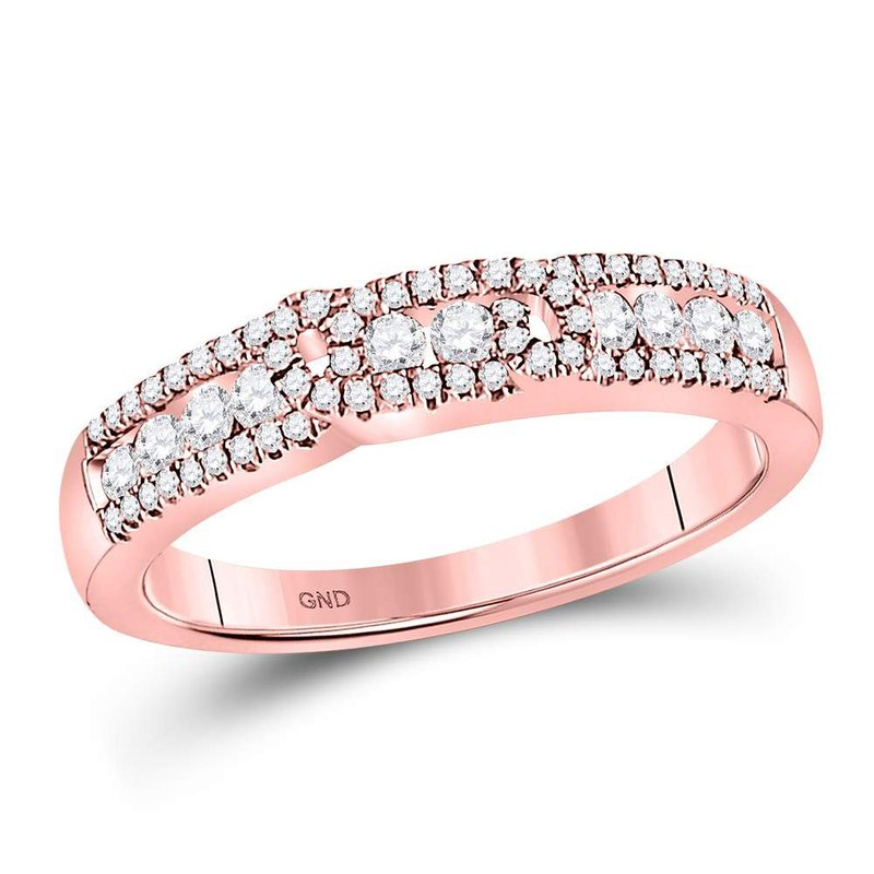 Gold-N-Diamonds, Inc. (Atlanta) 14kt Rose Gold Womens Round Diamond Triple Row Band Ring 1/2 Cttw