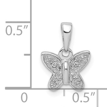 Sterling Silver Rhodium Plated Diamond Butterfly Pendant