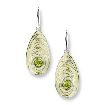 Yellow Teardrop Wire Earrings.Sterling Silver-Peridot