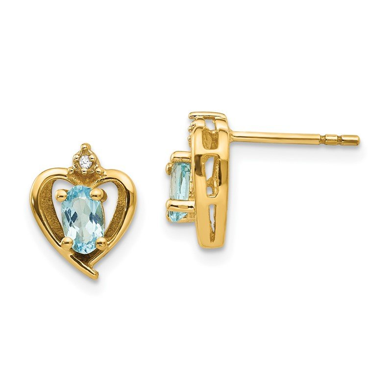 Quality Gold 14k Blue Topaz and Diamond Heart Earrings