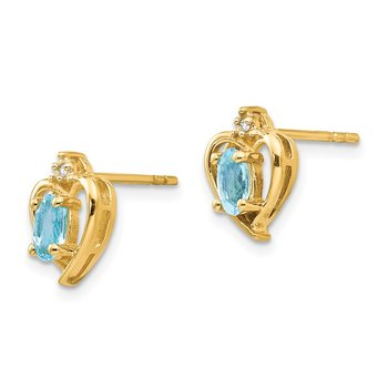 14k Blue Topaz and Diamond Heart Earrings
