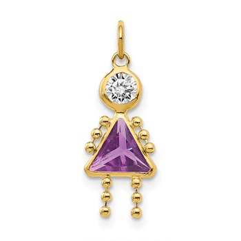 14k February Girl Birthstone Charm