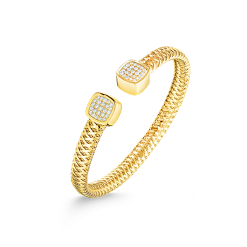 18KT GOLD FLEXIBLE CUFF WITH DIAMONDS