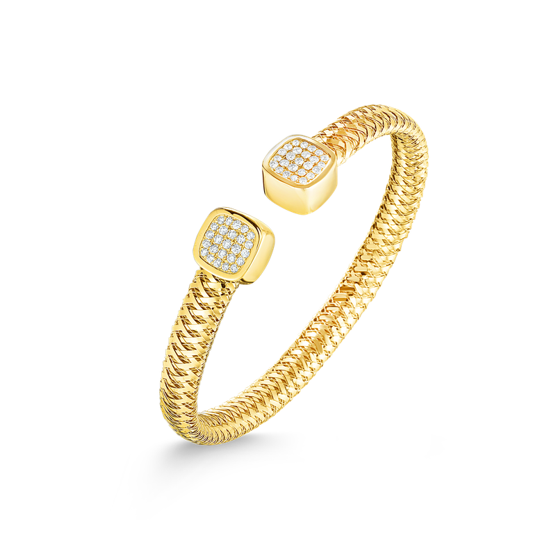 Roberto Coin 18Kt Gold Flexible Cuff With Diamonds