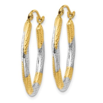 14K & Rhodium Textured Hollow Oval Hoop Earrings