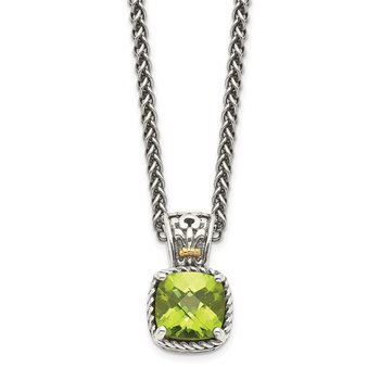 Sterling Silver w/14k Peridot Necklace