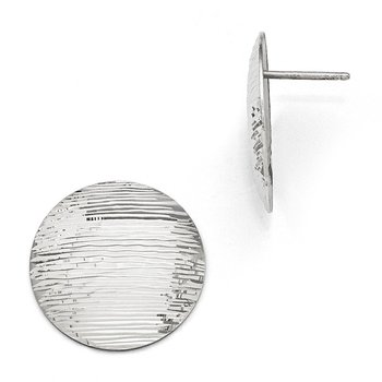 Leslie's SS Radiant Essence Rhodium-plated Diamond-cut Earrings