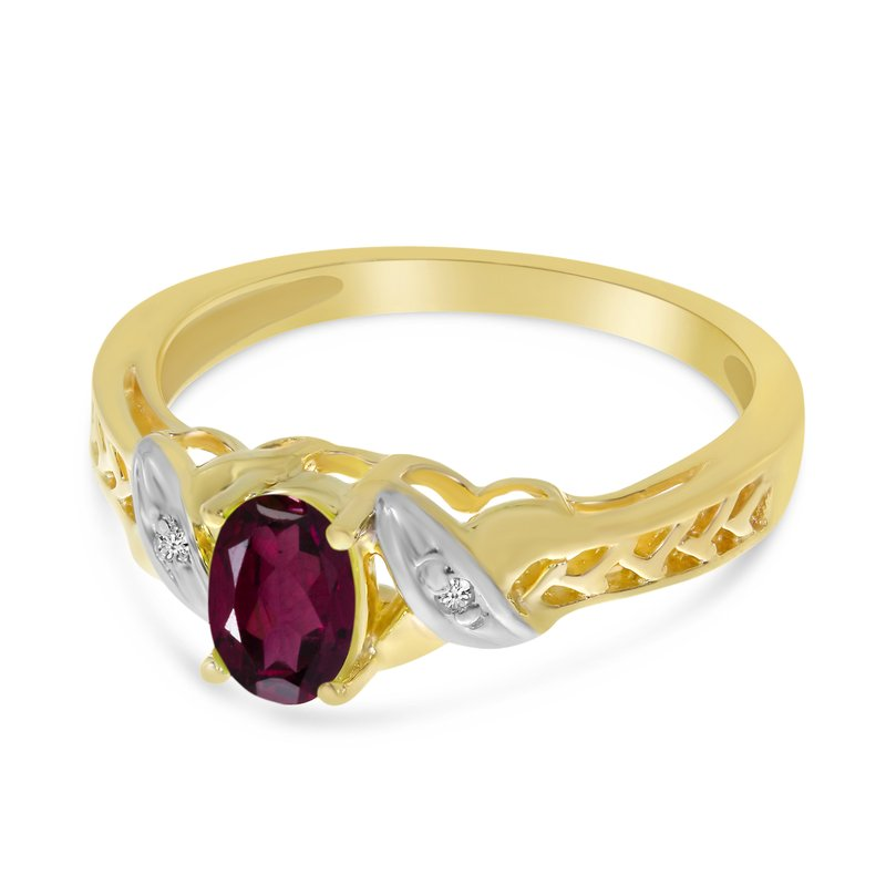 Color Merchants 14k Yellow Gold Oval Rhodolite Garnet And Diamond Ring