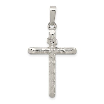 Sterling Silver Polished and Textured INRI Cross Pendant
