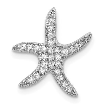 Sterling Silver Rhodium-plated CZ Starfish Slide Pendant