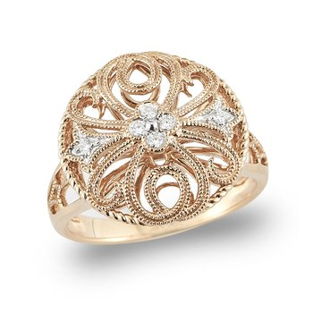 14K Rose Gold Round Filigree Diamond Ring