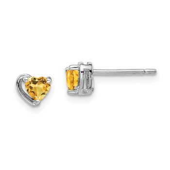 Sterling Silver Rhod-plated Citrine Heart Post Earrings