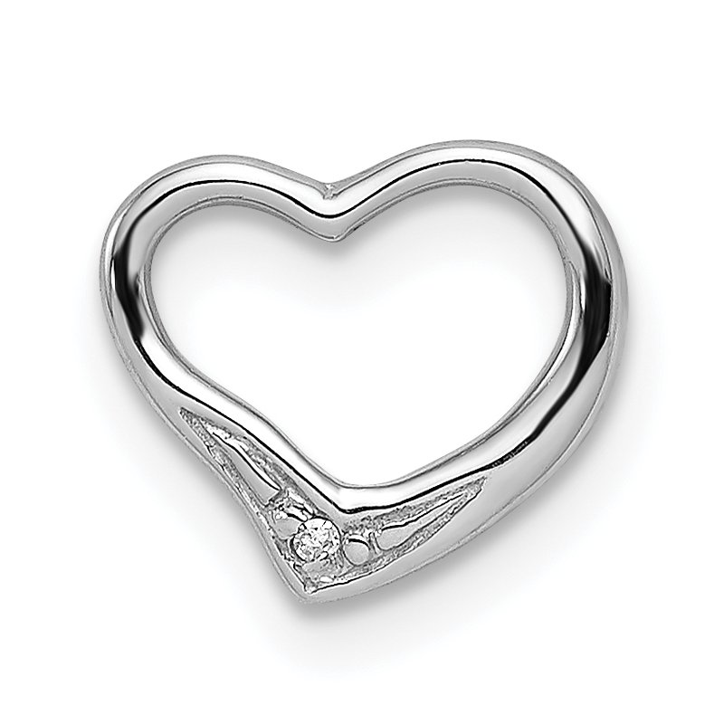 Quality Gold Sterling Silver Rhodium Diamond Floating Heart Pendant