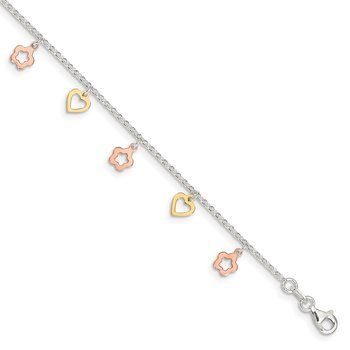 Sterling Silver Gold and Rose-tone Heart Flower 9in Plus 1in ext. Anklet