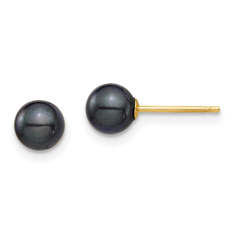 Quality Gold 14K 5-6mm Round Black Saltwater Akoya Cultured Pearl Stud Post Earrings