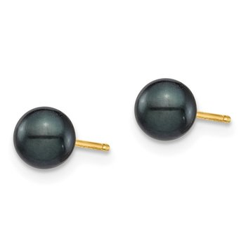 14K 5-6mm Round Black Saltwater Akoya Cultured Pearl Stud Post Earrings
