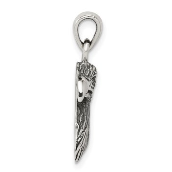 Sterling Silver Polished Textured Eagle Head Pendant