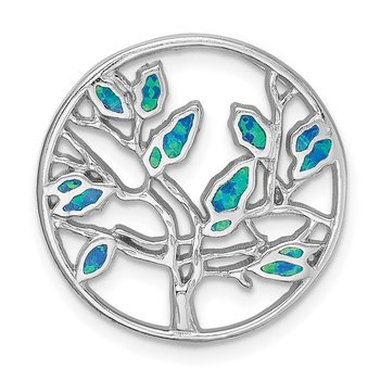 Sterling Silver Rhodium-plated Blue Created Opal Tree Pendant