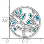 Quality Gold Sterling Silver Rhodium-plated Blue Created Opal Tree Pendant