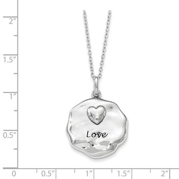 Sterling Silver Antiqued For You My Love 18in. Necklace