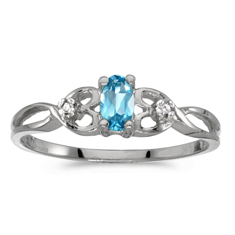 14k White Gold Oval Blue Topaz And Diamond Ring