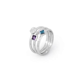 925 sterling silver and white, amethyst and blue zircons.