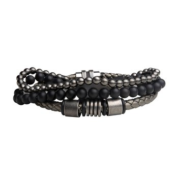 Gun Metal Onyx Bead and Metallic Grey Braided Leather Stackable Bracelets