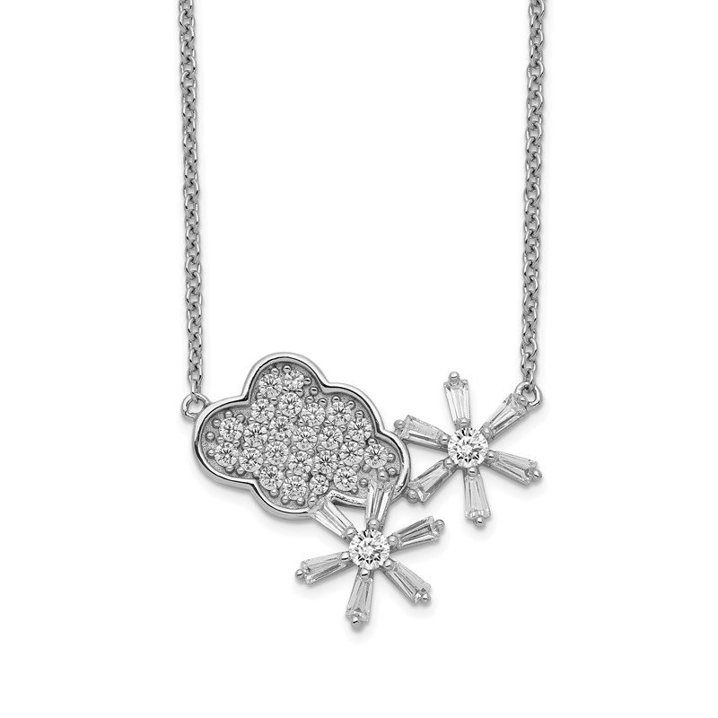 Quality Gold Sterling Silver Rhodium-plated CZ Cloud & Snowflake w/2IN EXT Necklace