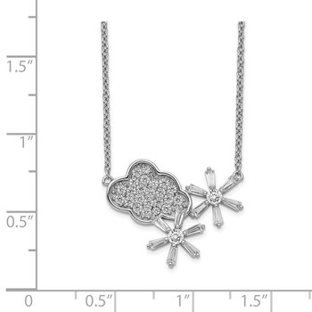 Sterling Silver Rhodium-plated CZ Cloud & Snowflake w/2IN EXT Necklace